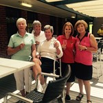 C Grade :  Elke Hall, caddy Helen Kain, Carla Hirst, caddy Di Murray with referee Jenny Mitchell