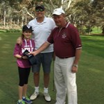 Scarlett SMITH with her father Barry winning the Onto-The-Third-Green prize