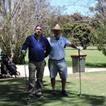C Grade finalists Sham Sharma and Alan Potts wait on the 5th tee